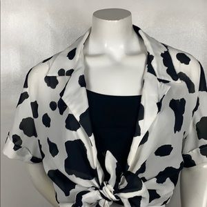 Virgo Black and White Cow Crop Tie Blouse Size: 12